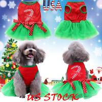 Pet Dog Christmas Clothes Costumes Puppy Cat Knit Apparel Tutu Dress Bowknot USA