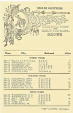 Miller Brothers 101 Ranch Wild West-Great Far East Shows Train Schedule c1920