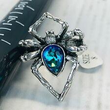 Spider Ring Silver Tone 8 Blue Rhinestone Figural Body Rainbow Topaz Goth