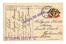 WW1 Posta Militare prima guerra franchigia 38° GRUPPO OBICI 112 BATTERIA   PM 51