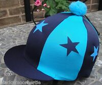 Riding Hat Silk Skull cap Cover NAVY BLUE &TURQUOISE * STARS With OR w/o Pompom
