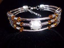 Tibet Silver Fashion Jewelry Brown Crystal & Glass Pearl Bead Bracelet B-07