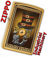 Zippo Industrial Machinery, Skull With Top Hat, SteamPunk, Brass Lighter 28320