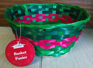 """Christmas House Round Bamboo Basket Storage Fruit Flowers Gifts 8.5"""" -  GREEN"""