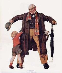 Norman Rockwell Grandpa Boy and Puppy Print THE GIFT