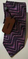 "MIssoni Silk Tie Purple Geometric 58"" x 3 1/4"" Made In Italy"