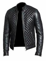 New Design Quilted Black Fashion Cafe Racer Real Leather Wear Jacket For Men's