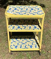 Vintage Yellow Metal 3 Tier Cart Kitchen Cosco? Sunflowers Industrial Casters