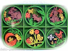 6x Impiccagioni letto Legno colorato 6 Motivo Sostenitori di bush 6 cm