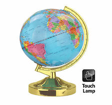 DESK TOP BEDROOM STUDY OFFICE WORLD GLOBE POLISHED BRASS TABLE TOUCH LAMP LIGHT