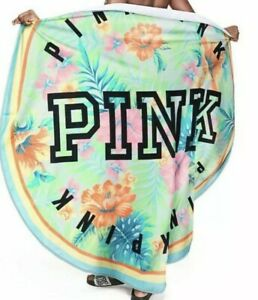 """Victoria's Secret PINK tropical floral logo Round Beach Pool Towel 55"""" NEW"""