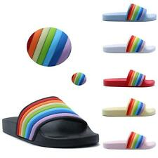 WOMENS LADIES FLIP FLOP FLAT SLIDERS SLIP ON RAINBOW SANDALS SLIDES SIZE 3-8