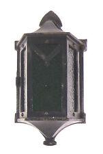 Antique Cast Iron Castle Wall Sconce Light vtg Stain Glass Gothic Tudor Mission