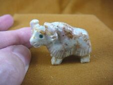 (Y-WAT-5) white red River WATER BUFFALO YAK carving SOAPSTONE PERU FIGURINE aceh