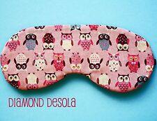 Eye Sleep Mask,Pink Owls Print Cotton Travel Festival Gift, Blackout UK Made