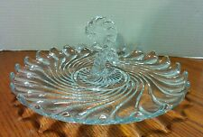 "Elegant Fostoria Colony Swirl Center Handle Hook Question Mark 11"" Serving Tray"