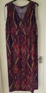 NINA LEONARD diamond print summer maxi dress size 3XL (26/28)
