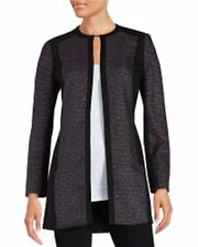 Laundry Suit Jacket Sz 12 Black Acai Tweed Ponte Knit Long Career Blazer Topper