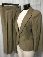 Lafayette 148 New York Women's Suit Brown Wool Blend Pant Suit Split Size 8 & 4