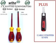 New Wiha 320n German Made Slotted Screwdrivers (Set 2)PLUS Cable Stripper Knife