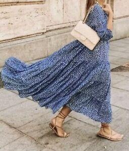 Zara Blue Floaty Print Angel Dress Tiered Midi Spot SIze 10-12 M
