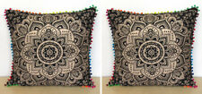 "2 Pcs. Set Of 24"" Black Gold Pillow Covers Cushion Cover Room Decorative Throw"