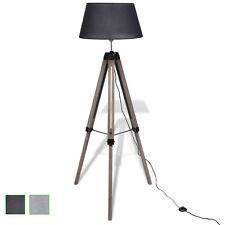 Stativ-Stehlampe Design Stativlampe Leselampe Stehlampe Holzstativ schwarz/grau