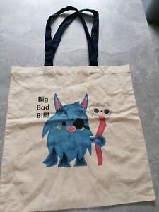 very rare big bad bill Moshi monster Canvas tote Bag from USA port & company