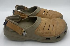 Crocs Yukon Vista Leather Clogs Sandals Mens 12M Brown Adjustable Shoes