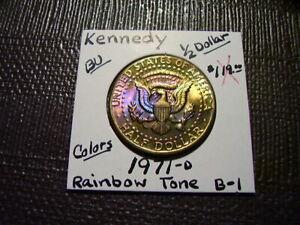 Rainbow Tone Gold & Purple 1971-D  Kennedy Half Dollar  BU Gem  B-1