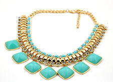 Turquoise Resin Bib Necklace with Crystals