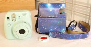 FUJIFILM Instax Mini 9 Ice Blue CAMERA & Storage Camera Case & Lens