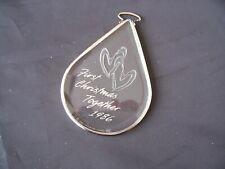 "1986 Hallmark Ornament, ""First Christmas Together"" Acrylic, Silver Trim"