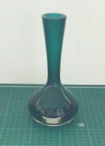 Vintage Murano ? Turquoise Green Art Glass Stem Bud Vase 18cms Tall VGC M1328