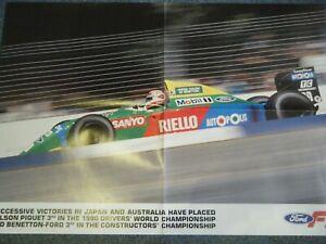 NELSON PIQUET BENETTON FORD POSTER 1990 AFFICHE MOTORING-MAN