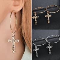 Women Vintage Cross Pendant Earrings Drop Silver/Gold Color Earrings Jewelry U27