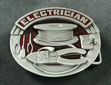 ELECTRICIAN OCCUPATIONAL BELT BUCKLE SPOOL OF WIRE CUTTERS TOOLS SISKIYOU E6 NEW