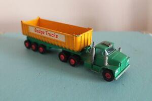 """Matchbox 12"""" DODGE TIPPER K-16 K-15 FRUEHAUF TRAILER Lorry Diecast Toy 60's"""