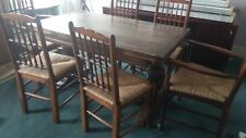 Extendable Rustic Farmhouse antique dining table, 4 chairs 2 carvers kitchen Oak