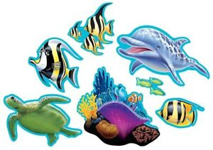 Ocean Party Summer Luau Tropical Beach Theme Party Decoration Paper Cutouts