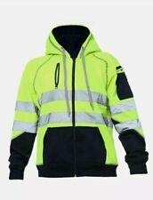 Hi Viz Vis High Visibility Jacket 3 Zips Hoodie Work Zip Hooded Top