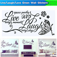 Live Laugh Love Quotes Butterfly Wall Stickers Art Room Decal Home Room Decor HS
