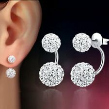 1 Pair Women Charm Jewelry Silver Double Beaded Rhinestone Crystal Stud Earrings