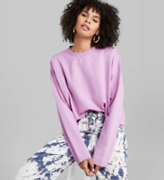 Women's Long Sleeve Crew Neck French Terry Sweatshirt -Wild Fable -Violet-M-S531