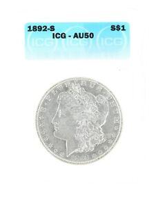 1892-S Silver Morgan Dollar ICG AU50 S$1 San Francisco Minted Silver Coin