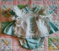 Vintage Nannette Baby Girl 6-9m Blue & White Pinafore Dress & Underpants Set