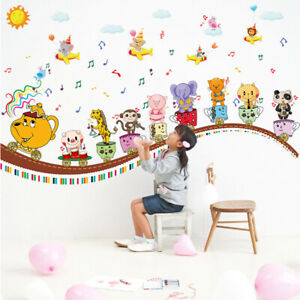 Removable Wall Sticker Cartoon Music House Animal Tree Decal Children's Bedroom