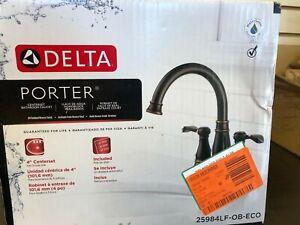 Delta Porter 4 in Centerset Bathroom Faucet 2 Handle Bronze 25984LF-OB-ECO