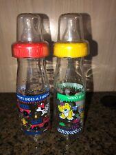 2 Cherubs By Playtex Baby Bottles 6 Oz Red Fire Truck & Dalmatians ,Yellow Lion