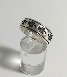 Wide Sterling 925 Band Ring with Clover Design - Wedding, Lucky, Irish, Shamrock